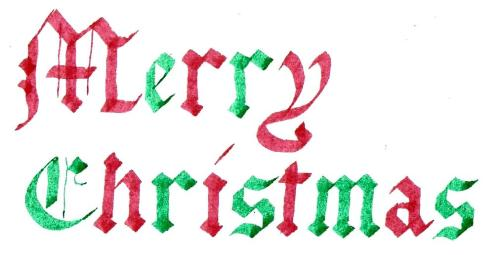Gothic Blackletter calligraphy: Merry Christmas
