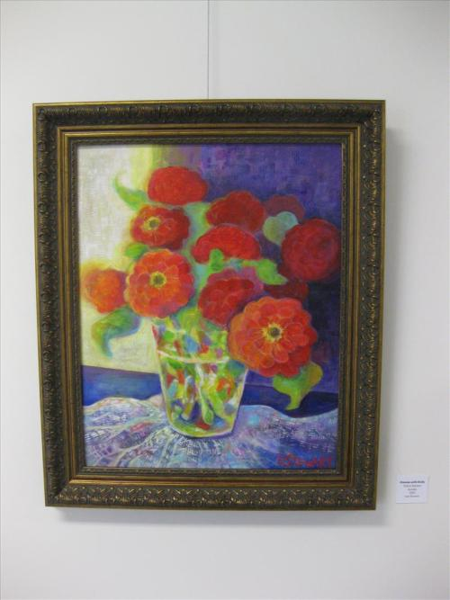 """Zinnias with Doily"""