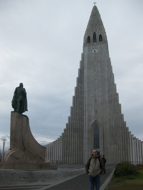 The most famous spot in Iceland, the towering Hallgrimskirkja. Pretty in pictures but rather drab in person. Great view from the top, though.