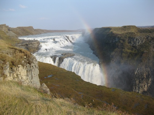 The mighty double waterfall Gullfoss in all its thundering glory, complete with rainbow. What you don't see in the photo is the constant freezing gale-force wind.
